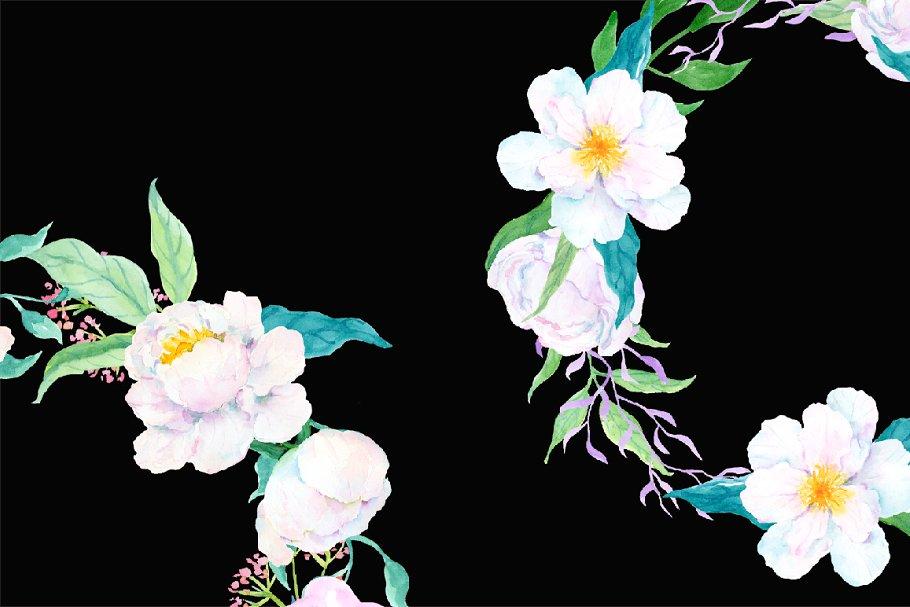 经典可爱手绘水彩花卉白牡丹花圈 designshidai_chahua086