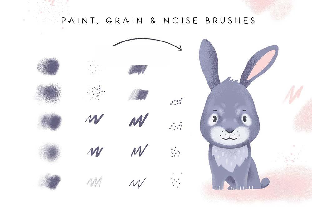 可爱童真有趣Procreate笔刷和字体素材 designshidai_bishua021