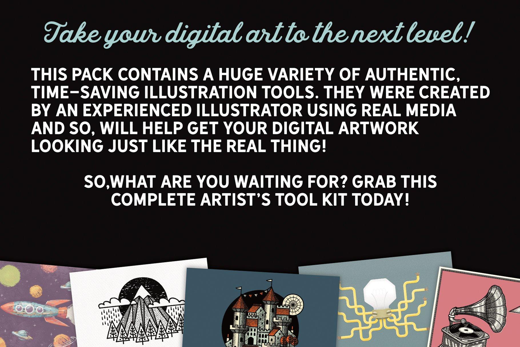 各种风格16套最受欢迎的艺术矢量笔刷工具包designshidai_bishua0111