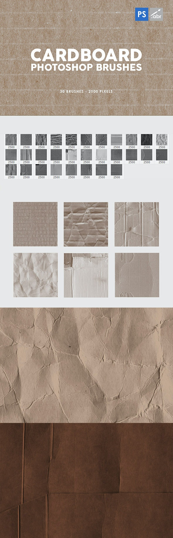 高质量艺术装饰30个纸板纹理印章ps笔刷下载designshidai_bishua046