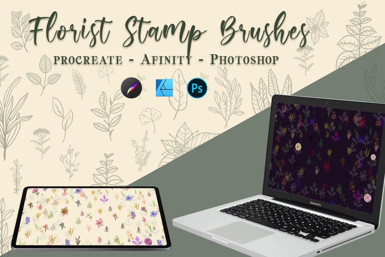 简约装饰植物花卉主题印花PS笔刷PHOTOSHOP笔刷套装designshidai_bishua058