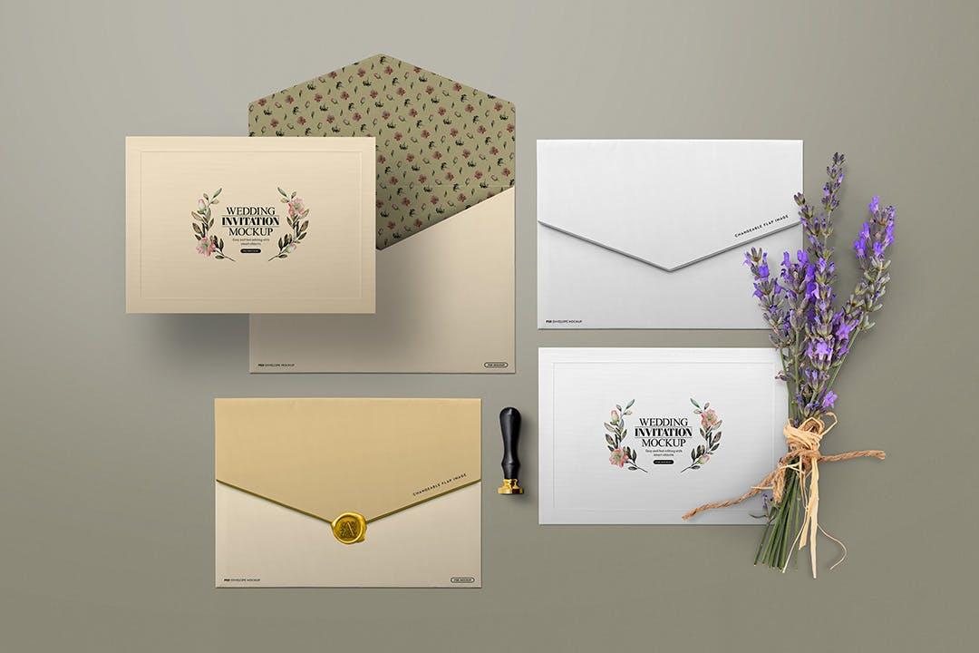 高质量高端优雅婚礼邀请函信封蜡印章模型designshidai_yj817
