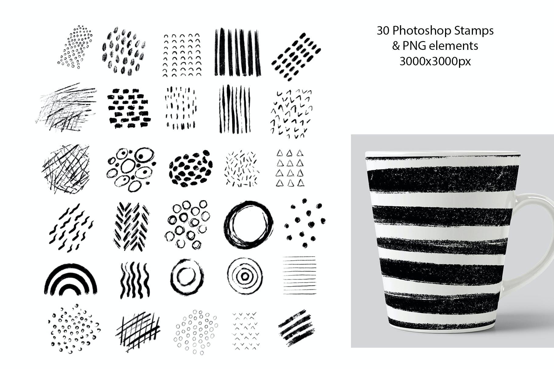 美丽的抽象手绘粗细笔刷 designshidai_bishua006
