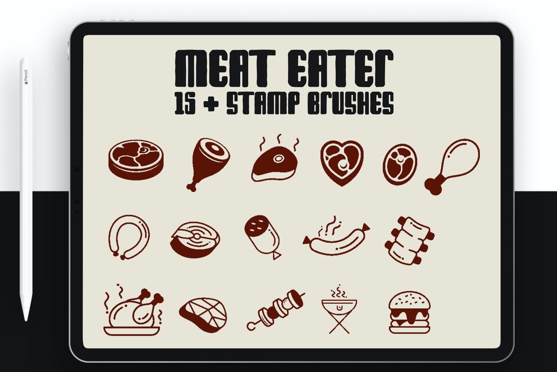 简约设计肉食主题图案个性笔刷designshidai_bishua055