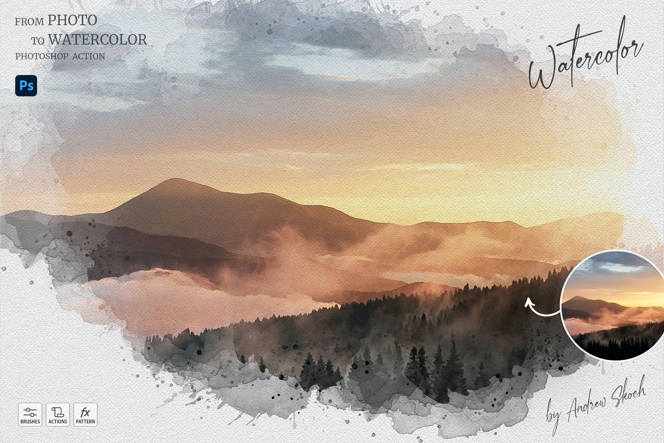 艺术创意照片转水彩画纹理的PS动作下载designshidai_bishua083