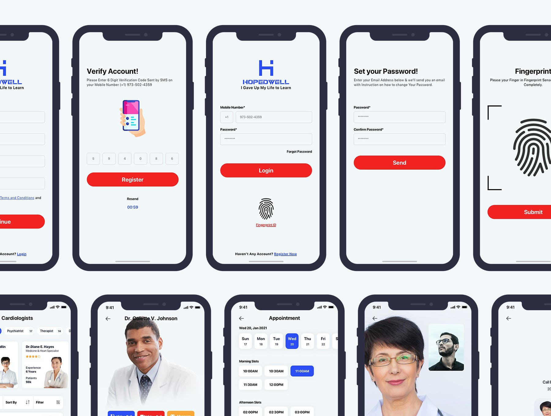 专业医院和医疗保健移动应用程序APP UI designshidai_ui315