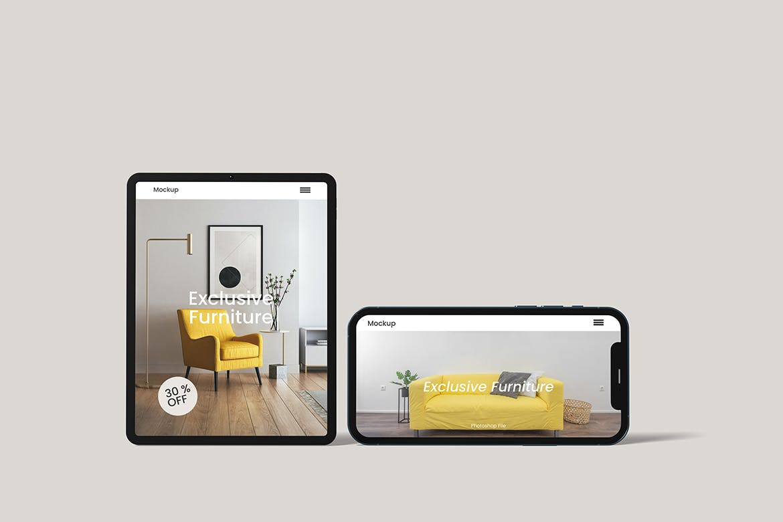 智能高端手机和平板电脑前视图模型designshidai_yj792