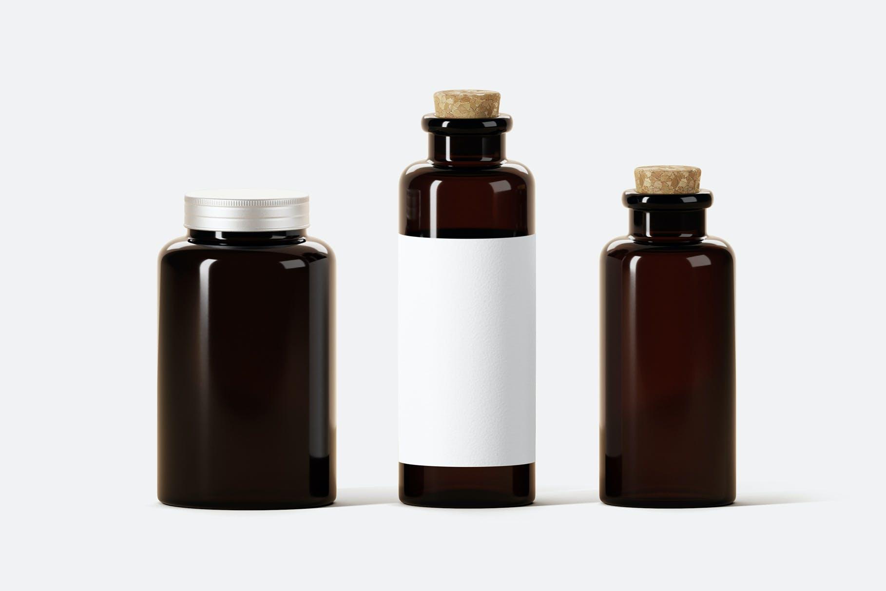 多用途经典棕色玻璃瓶子样机designshidai_yj795