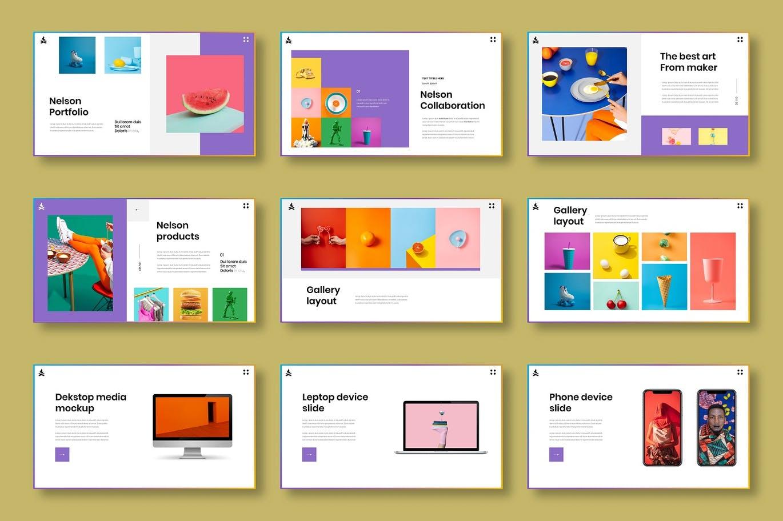 时尚高端清新优雅多用途的高品质马卡龙配色商业商务powerpoint幻灯片演示模板designshidai_ppt0205