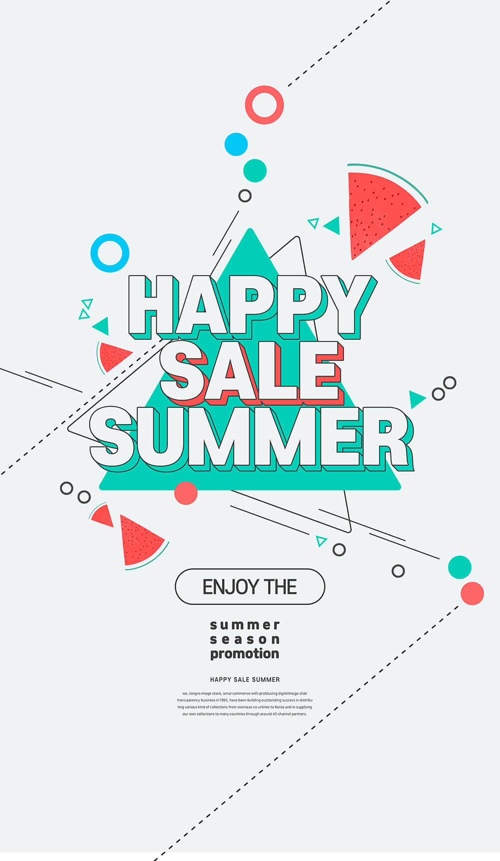 时尚简约线条设计夏季销售宣传海报模板designshidai_haibao53