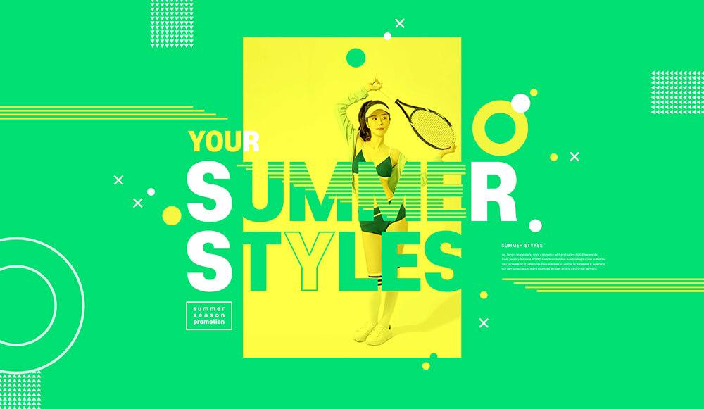 度假风绿色清新风格夏季运动推广海报设计模板designshidai_haibao54