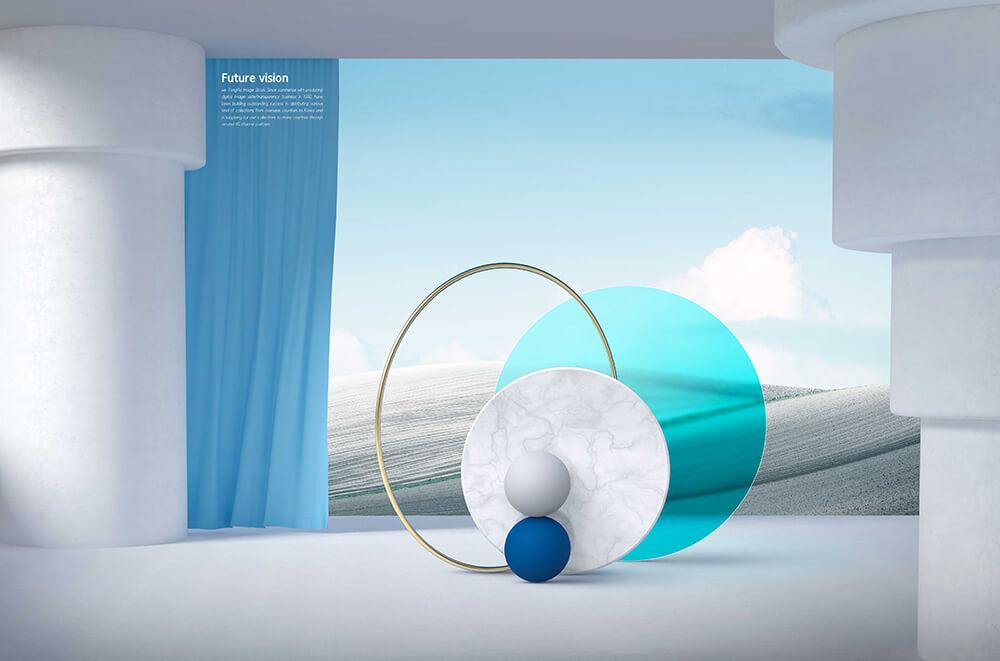 时尚梦幻装饰元素场景未来概念海报设计模板designshidai_haibao64