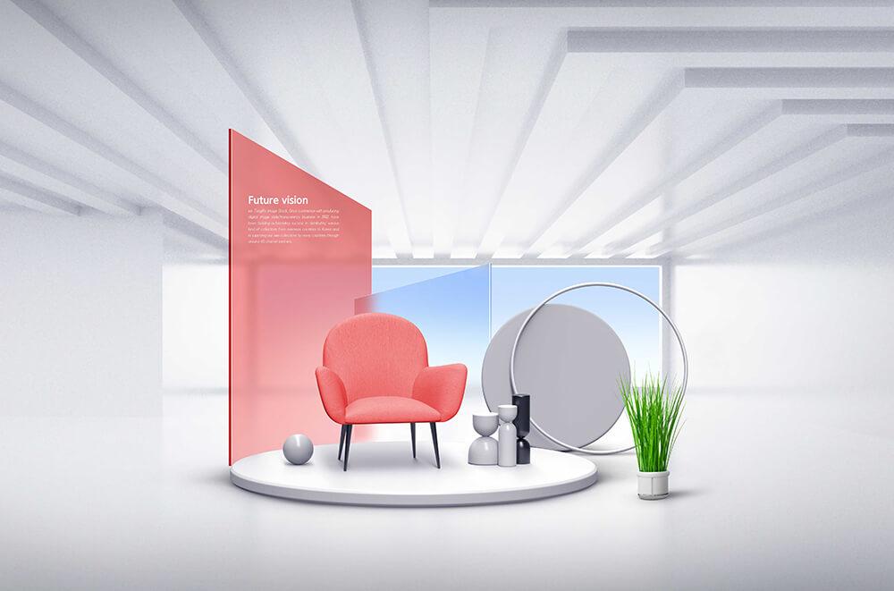 简约时尚家居元素未来风格场景海报设计模板designshidai_haibao66