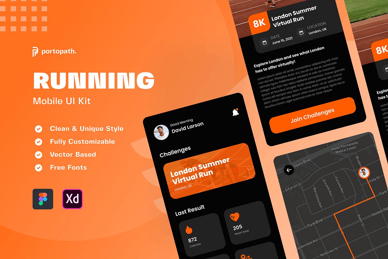高端专业运动健身计步移动App UI设计素材模板工具包designshidai_ui361