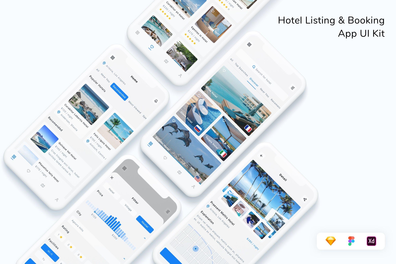 时尚酒店清单 & 预定App UI工具包designshidai_ui341
