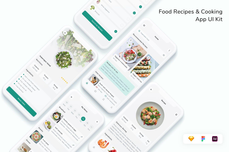 现代设计美食菜谱烹饪App UI工具包designshidai_ui318