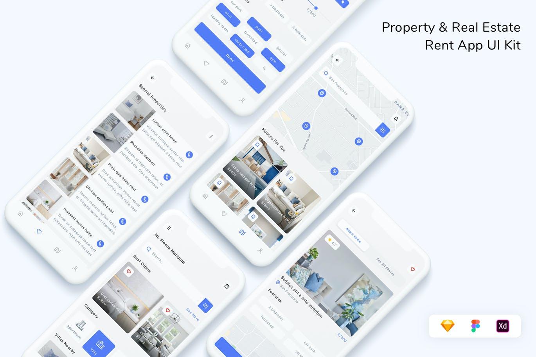现代简约设计物业及房屋租赁App UI 工具包designshidai_ui321