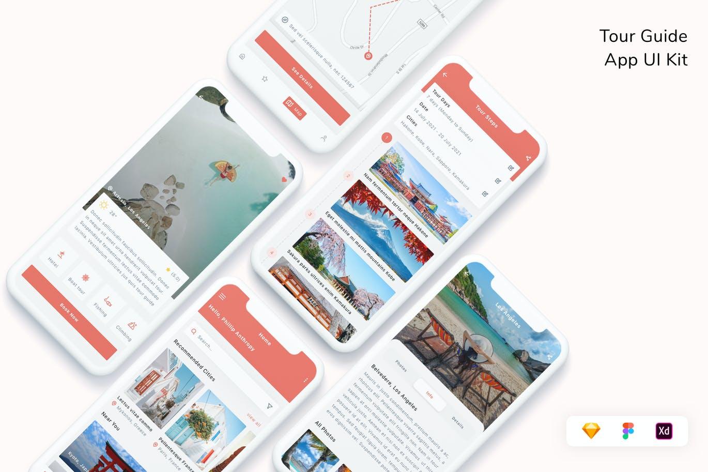 自由自在旅行向导页面App UI工具包designshidai_ui344