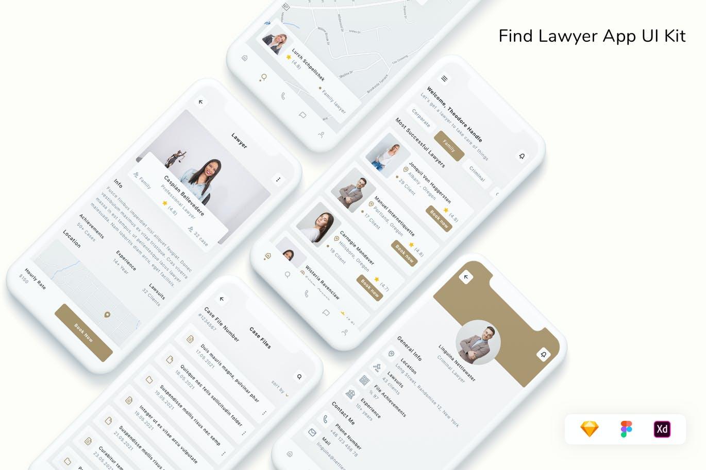 专业在线律师应用程序UI工具包designshidai_ui345