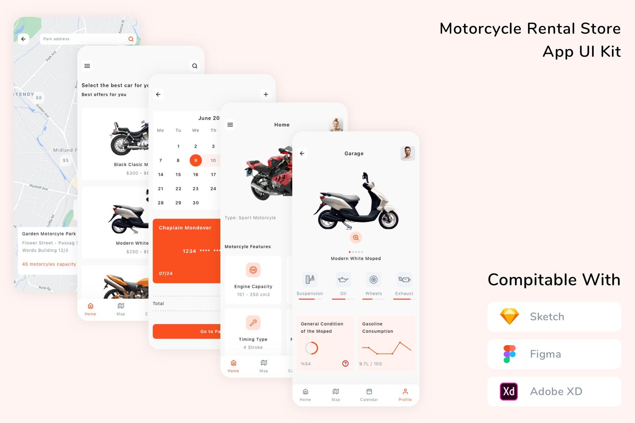 简约摩托车租赁商店App UI工具包 designshidai_ui358