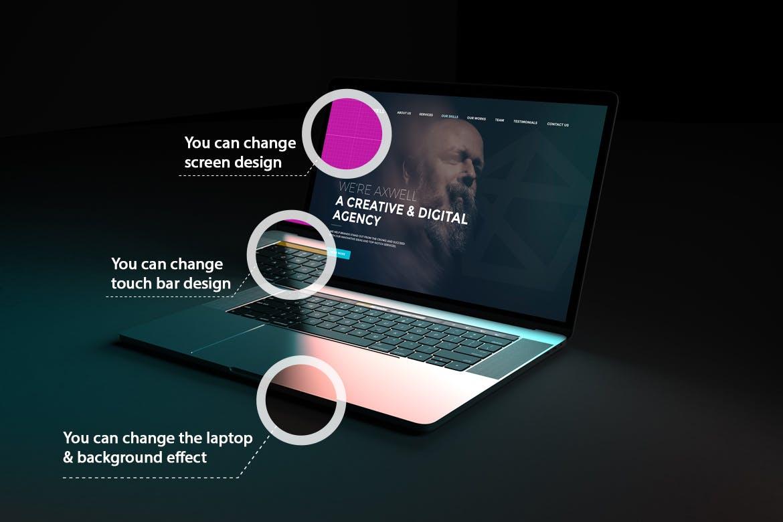 高端智能深色背景的Macbook电脑样机designshidai_yj840