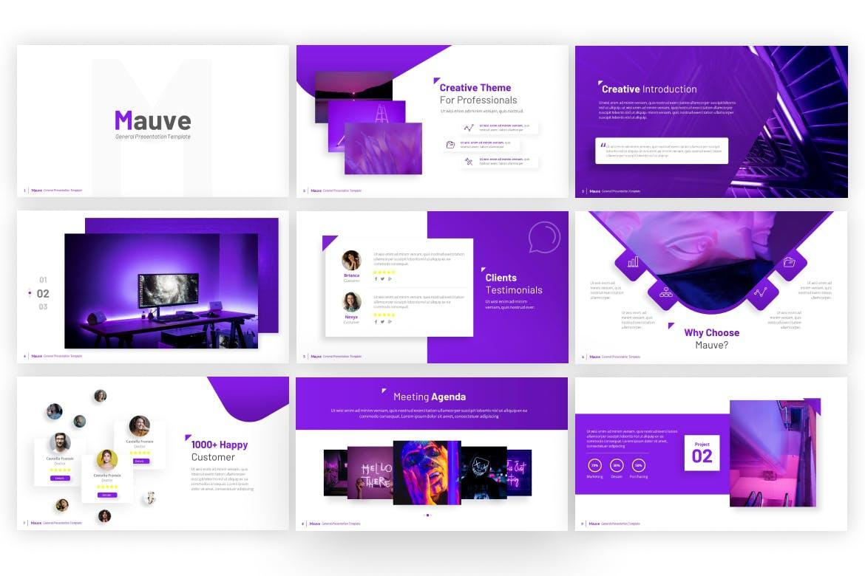淡紫色优雅多用途创意幻灯片模板designshidai_ppt0173