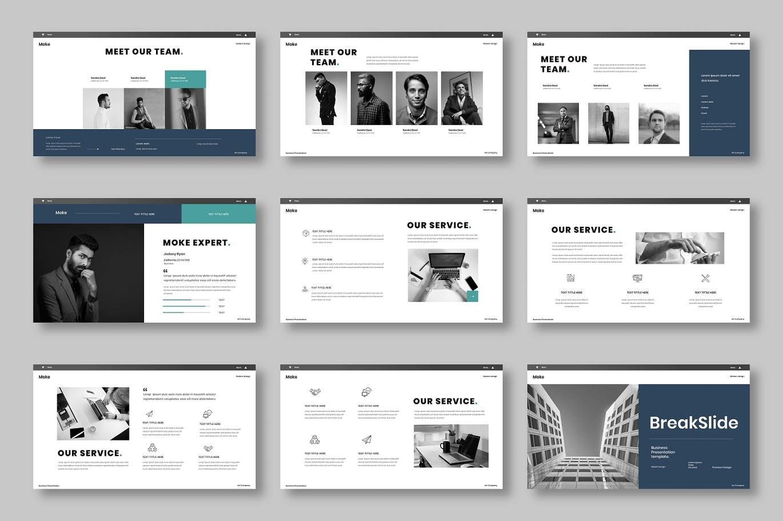 创意浅色调广告公司项目PPT模板designshidai_ppt0195