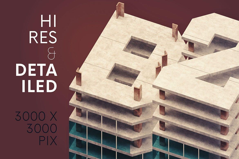 高端逼真质感的房地产建筑风格3D立体英文字体设计designshidai_haibao50