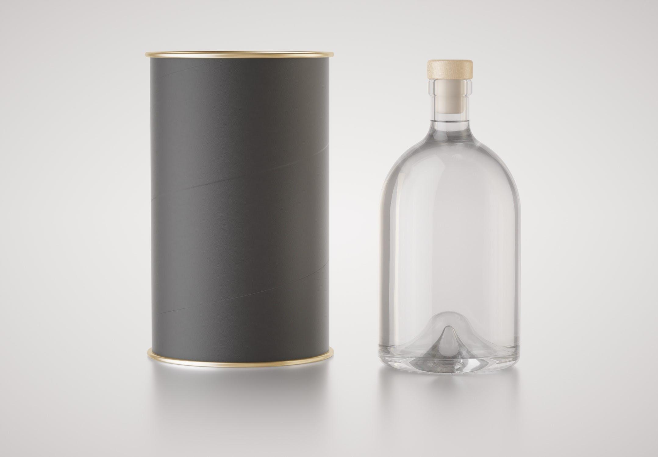 高端大气透明酒瓶与包装管模型designshidai_yj830