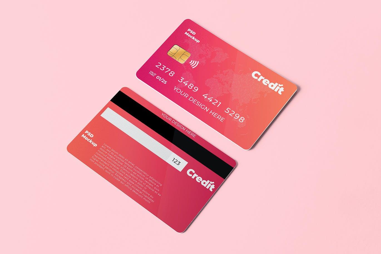 逼真时尚的信用卡IC卡设计样机designshidai_yj841