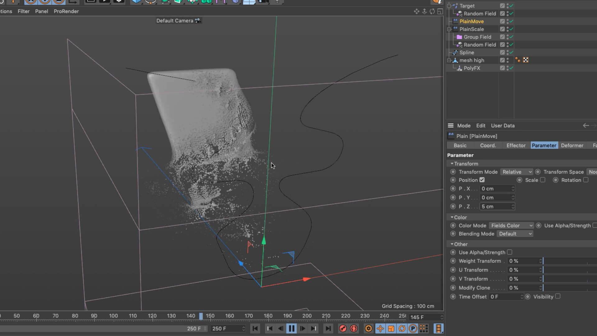 C4D 使用PolyFX和MoGraph工具设置溶解教程designshidai_C4D06