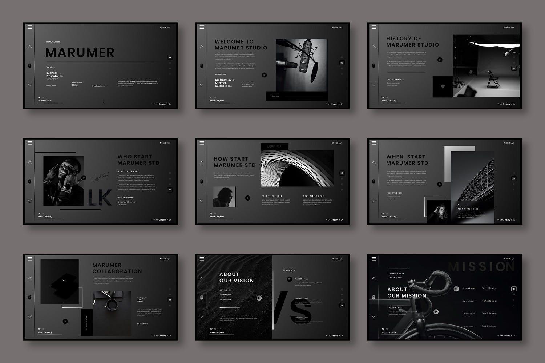 黑色风格商务演示商业演讲摄影创意幻灯片ppt模板 (PPTX) designshidai_ppt0211