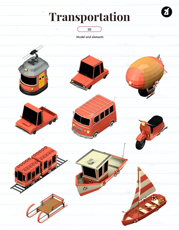 时尚高端3D立体C4D渲染风格运输图标icon集合designshidai_C4D01