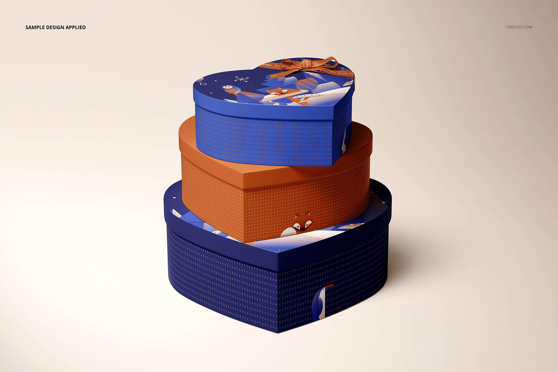 七夕情侣爱心巧克力心形盒包装设计样机designshidai_yj871