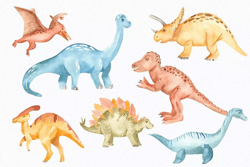 儿童插画水彩恐龙剪贴画/图案/画框卡通背景图案素材designshidai_beijing179