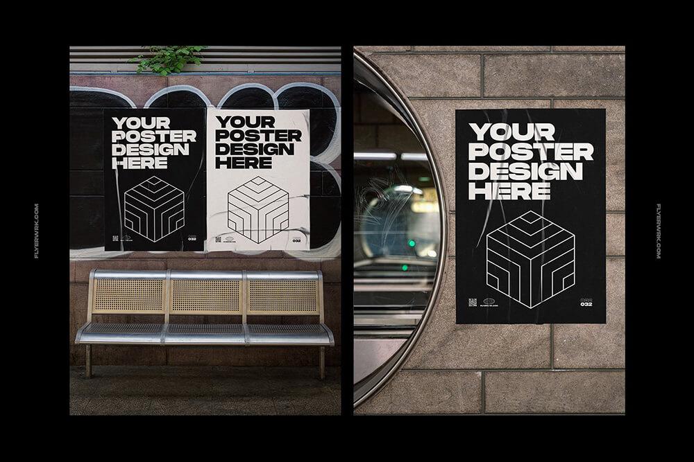 城市海报展示街头混凝土墙面样机海报展示样机套装mockups [1.48GB] designshidai_yj872