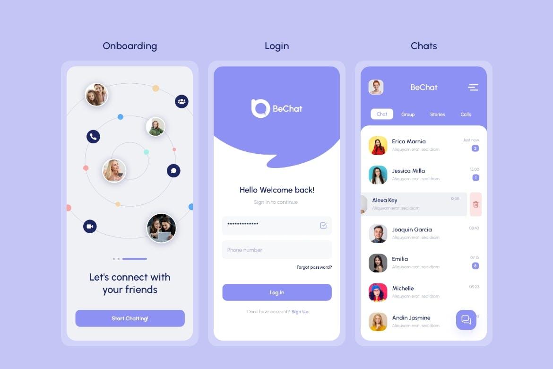 移动社交APP聊天信息相关界面设计工具包组件 App UI Kit (XD) designshidai_ui369