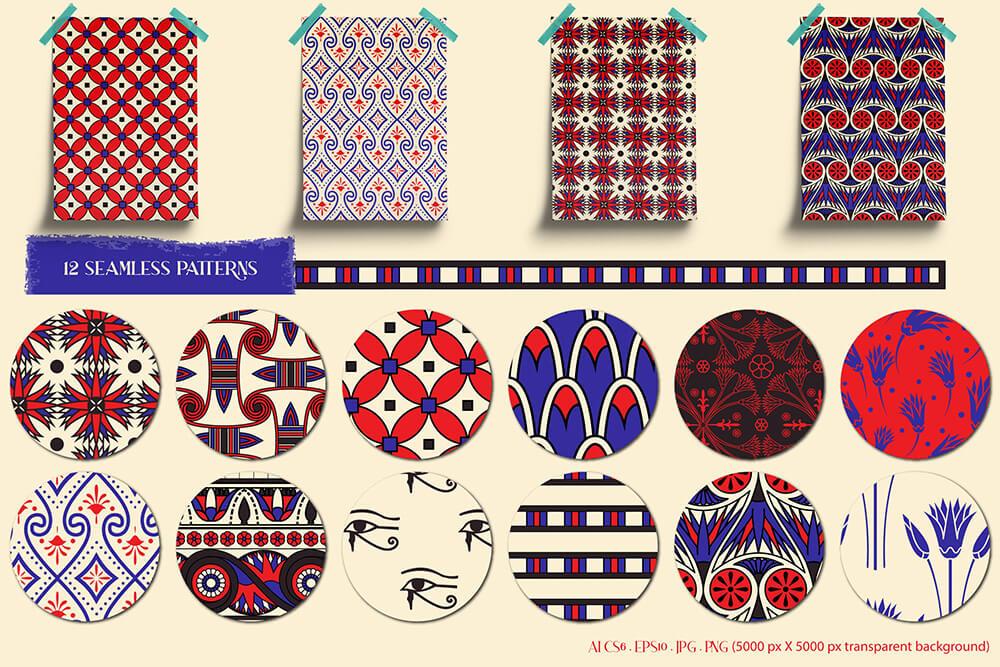 时尚服装图案古埃及艺术收藏插画古典民族典纹理图案图案素材 (ai,eps,jpg,png) designshidai_beijing179