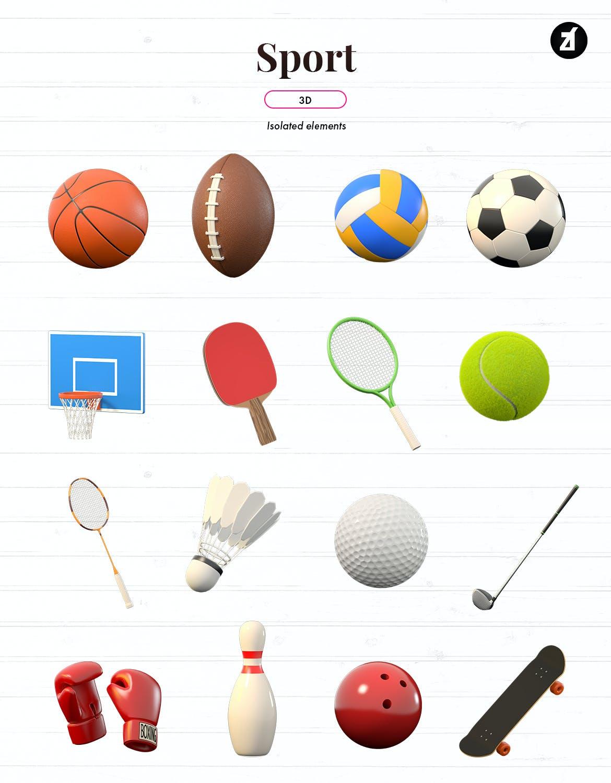 3D立体运动器材篮球棒球羽毛球拳击手套滑板高尔夫杆橄榄球足球APP UI 图标icon大集合-C4D,OBJ,JPG,PNG  designshidai_C4D18